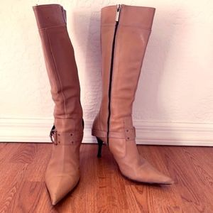 Camel-colored point toe boots